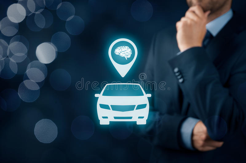 Intelligent car. Intelligent vehicle and smart cars concept. Symbol of the car and human brain stock photography
