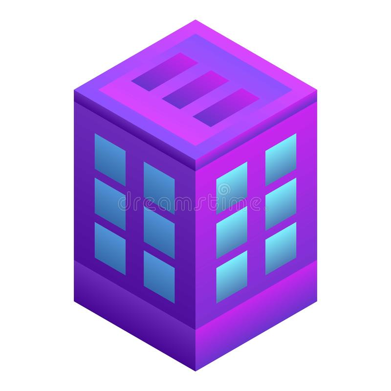 Intelligent city building icon, isometric style vector illustration