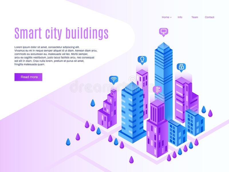 Intelligent city buildings. Urban landing page, futuristic cityscape and smart town. High tech building vector isometric vector illustration