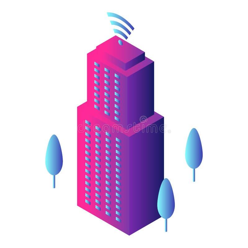 Intelligent de bouwpictogram, isometrische stijl royalty-vrije illustratie