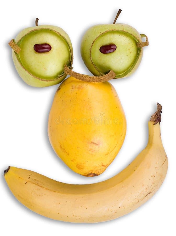Intelligent gezicht dat van fruit wordt gemaakt stock afbeelding