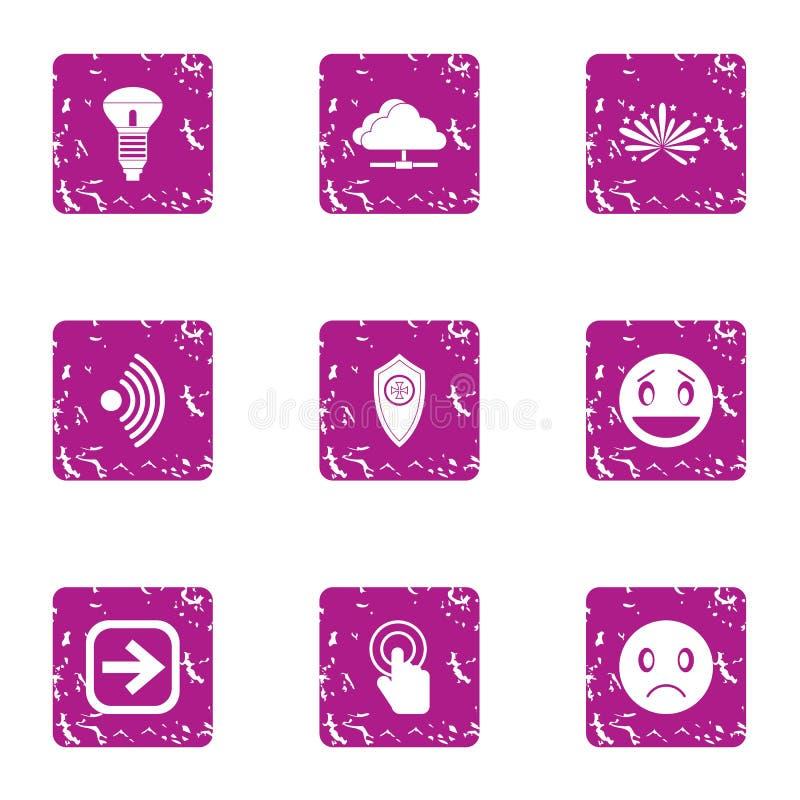 Intelligent home icons set, grunge style royalty free illustration