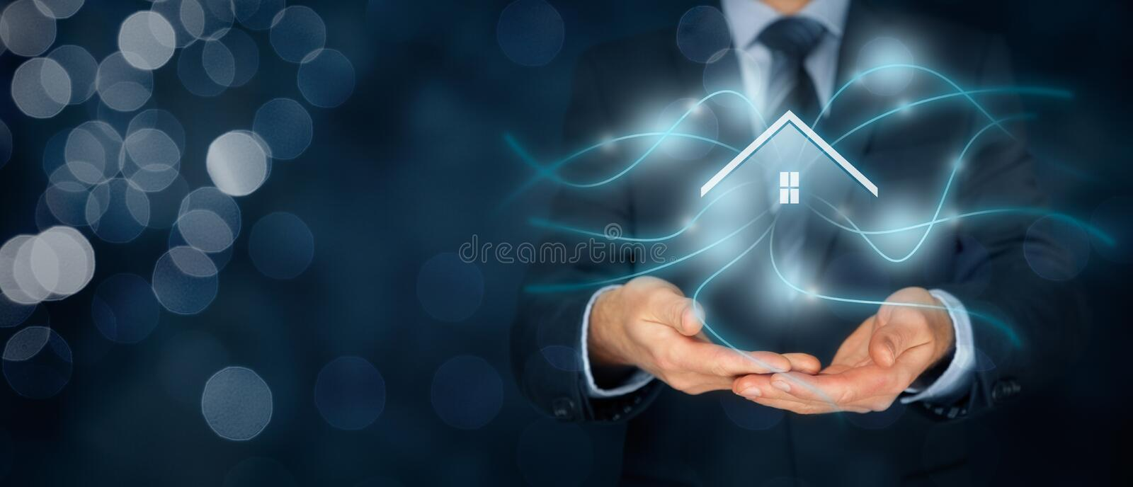 Intelligent house. Smart home and home automation concept. Symbol of the house and wireless communication stock image