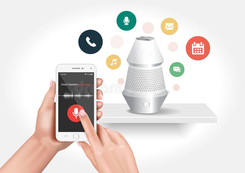 An intelligent loudspeaker activated by voice commands. Vector design showing a smart speaker compatible with the smartphone application stock illustration