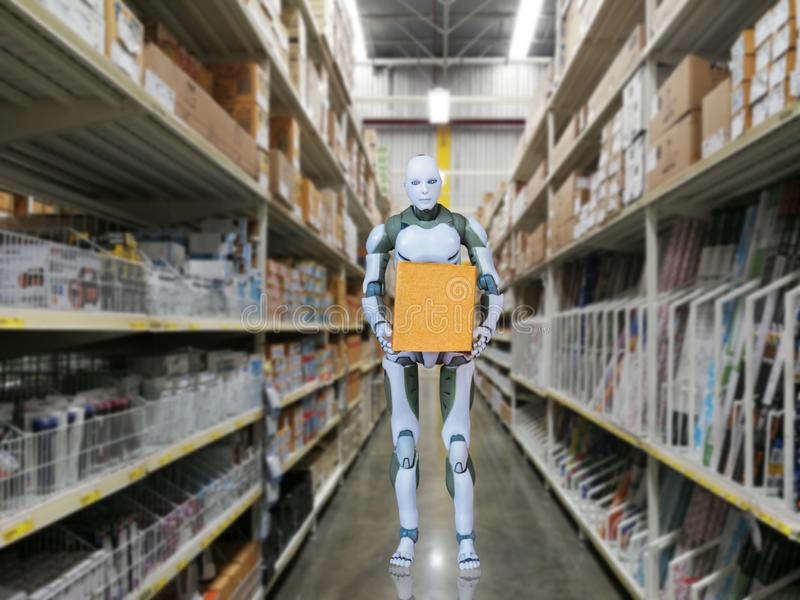 Intelligent robot technology holds box works instead of humans. In the warehouse royalty free stock photo