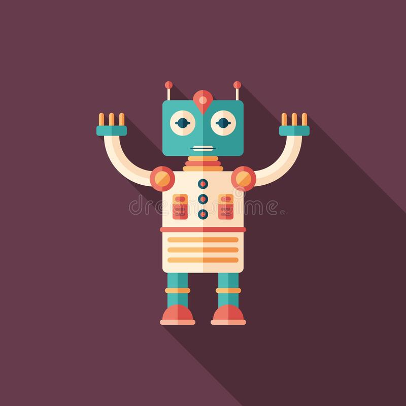 Robot astronaut flat square icon with long shadows. vector illustration