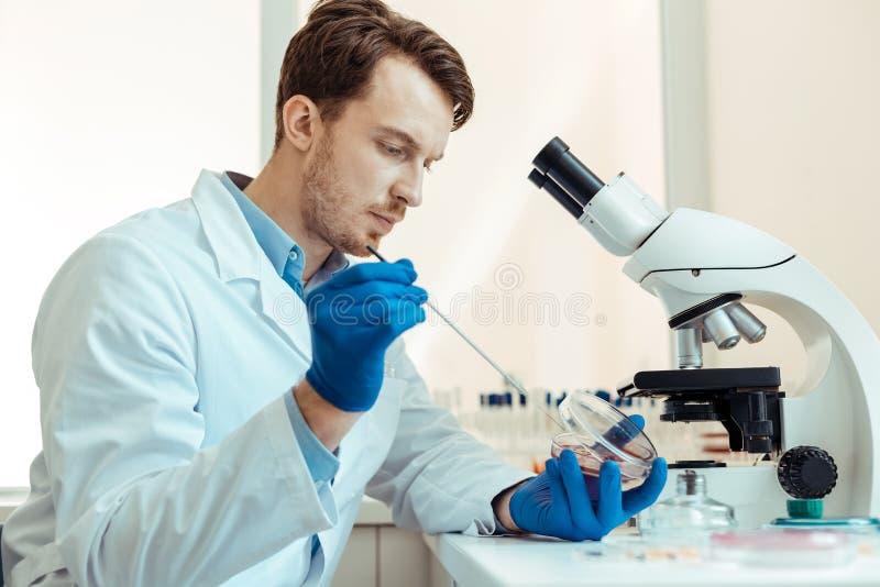 Intelligent stilig forskare som rymmer en metallpinne royaltyfri foto