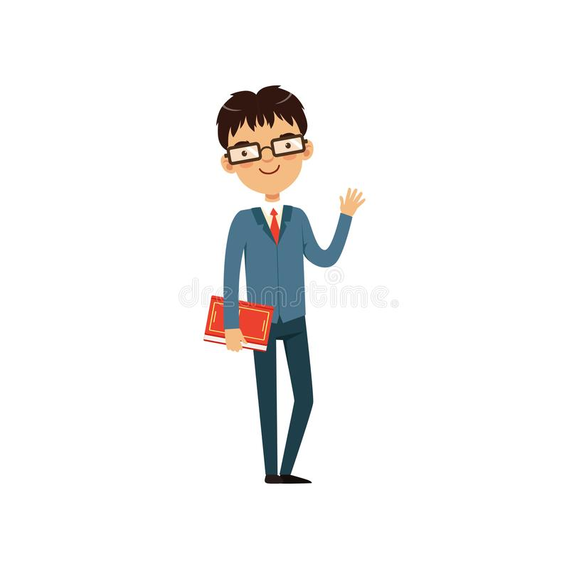 Intelligent teacher or student holding book and waving by hand. Cartoon nerd character in glasses and elegant blue suit stock illustration