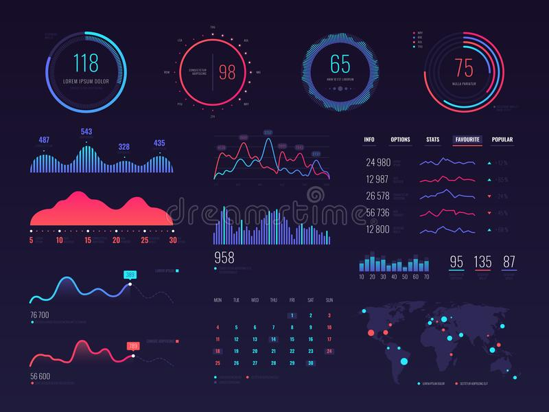 Intelligent technology hud vector interface. Network management data screen with charts and diagrams. Interface screen with colored infographic digital stock illustration