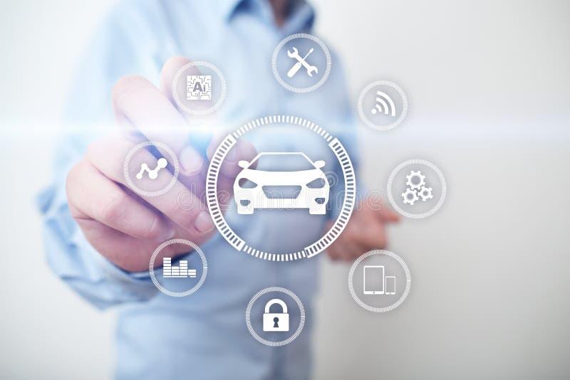 Intelligente auto, AI voertuig, smartcard Symbool van de auto en het pictogram Moderne draadloze communicatie en IOT-concept royalty-vrije stock foto