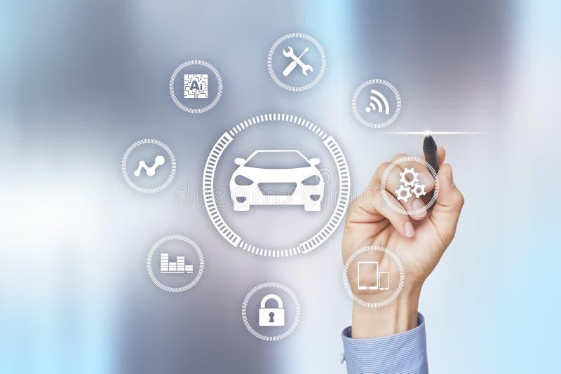 Intelligente auto, AI voertuig, smartcard Symbool van de auto en het pictogram Moderne draadloze communicatie en IOT-concept stock afbeelding
