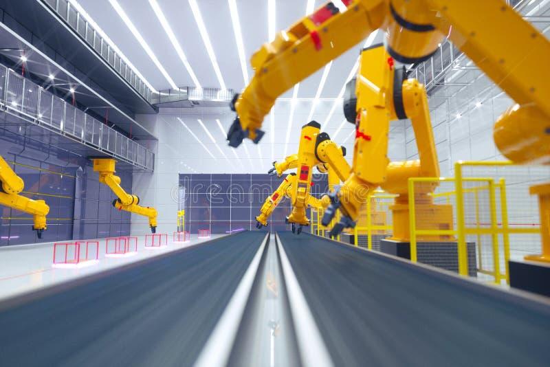 Intelligente Fabrik, moderne automatisierte Produktionsanlage mit den Roboterarmen stockfotografie