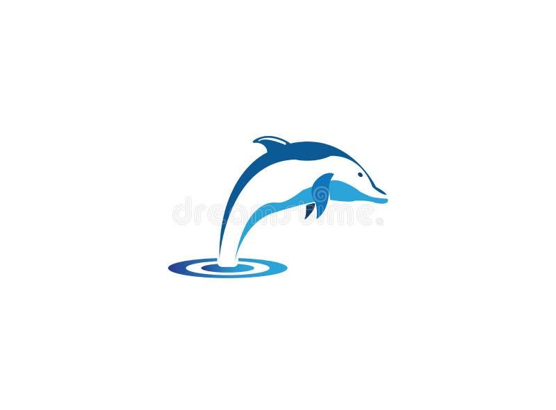 Intelligente Fische des Delphins springen in das Meer für Logoentwurf vektor abbildung