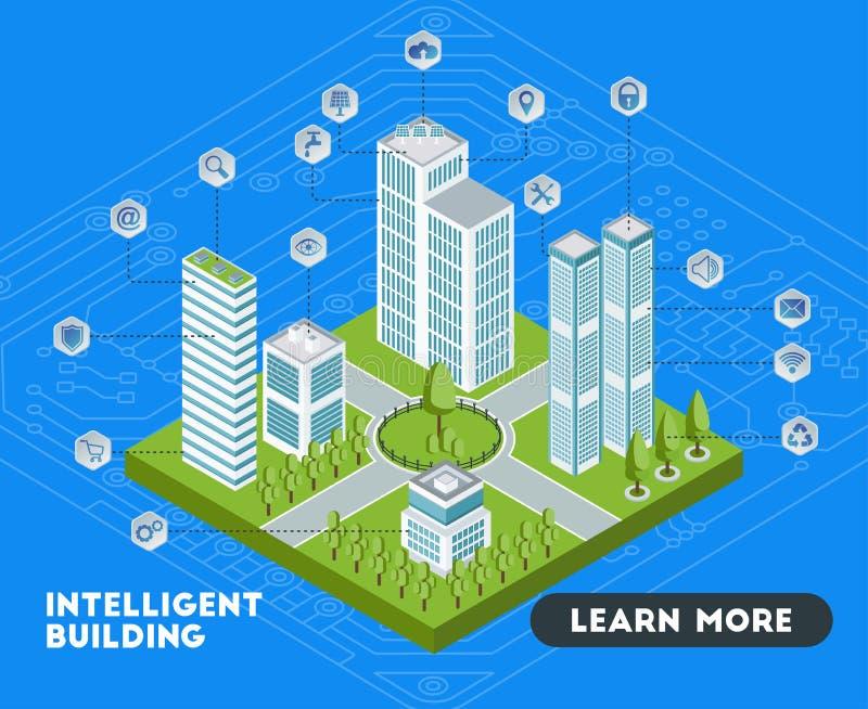 Intelligente gebouwenbanner stock illustratie