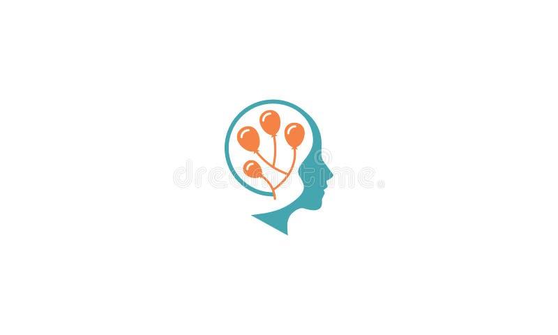 Intelligente Gehirngesundheitslogovektor-Ikonentechnologie lizenzfreie abbildung