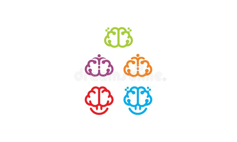 Intelligente Gehirngesundheitslogovektor-Ikonentechnologie stock abbildung