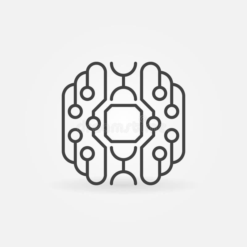 Intelligente Gehirnkonzept-Entwurfsikone Cyberbrain-Vektorsymbol lizenzfreie abbildung