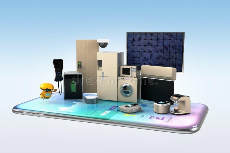 Intelligente Geräte an einem intelligenten Telefon lizenzfreie abbildung