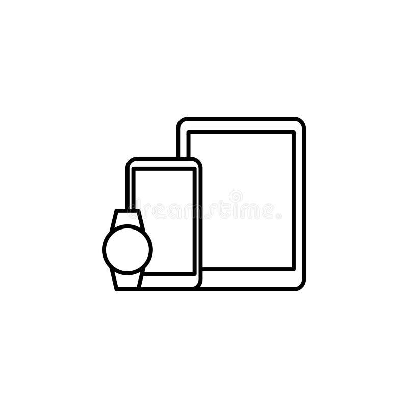 Intelligente Gerättelefon-Uhrikone Element der Ikone der künstlichen Intelligenz für bewegliche Konzept und Netz apps Dünne Linie vektor abbildung