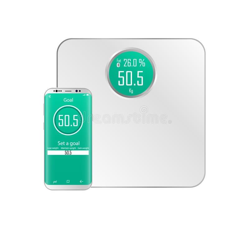 Intelligente Gewichte Realistisches Gewicht Bluetooth-Verbindung von Skalen mit einem Smartphone lizenzfreie abbildung