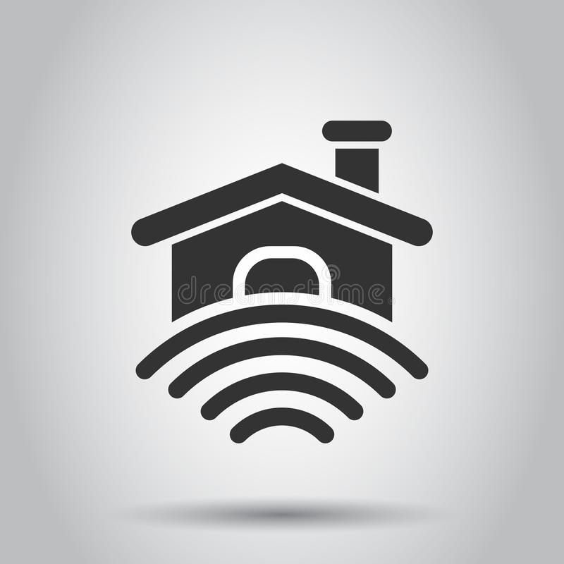 Intelligente Hauptikone in der flachen Art Haussteuervektorillustration auf weißem Hintergrund Intelligentes Hauptgeschäftskonzep stock abbildung