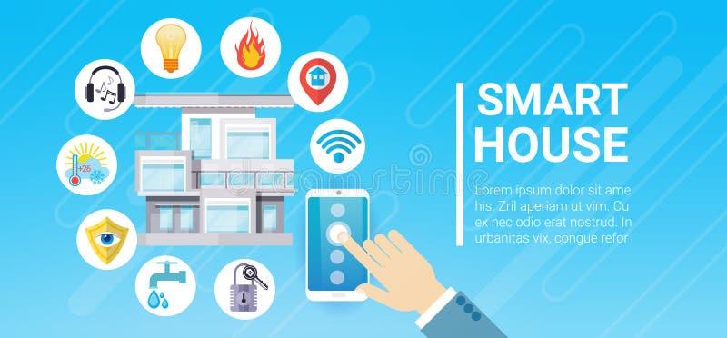 Intelligente Haus-Technologie-Kontrollsystem-Ikone Infographic mit Kopien-Raum lizenzfreie abbildung