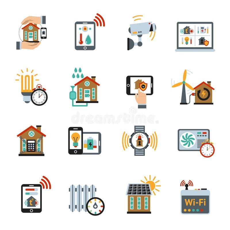 Intelligente Haus-Technologie-System-Ikonen vektor abbildung
