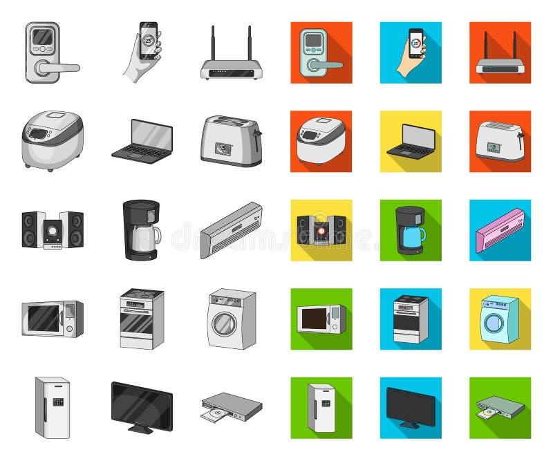 Intelligente Haushaltsgeräte mono, flache Ikonen in gesetzter Sammlung für Entwurf Modernes Haushaltsger?t-Vektorsymbol-Vorratnet lizenzfreie abbildung