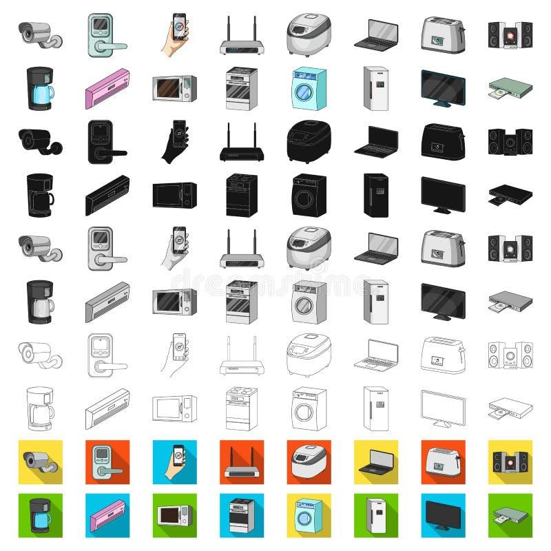 Intelligente Haushaltsgerätkarikaturikonen in der Satzsammlung für Design Modernes Haushaltsgerät-Vektorsymbol-Vorratnetz lizenzfreie abbildung