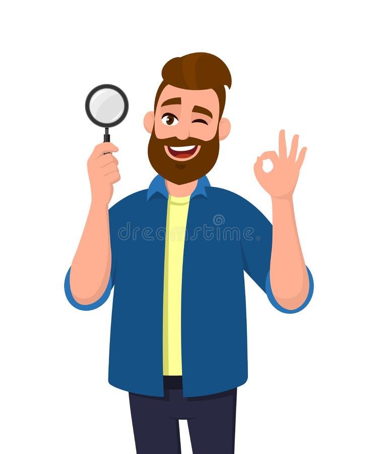 Intelligente Holdinglupe des jungen Mannes und Gestikulieren von okay-/OKzeichen beim Blinzeln des Auges Das Abkommen, gut, stimm vektor abbildung