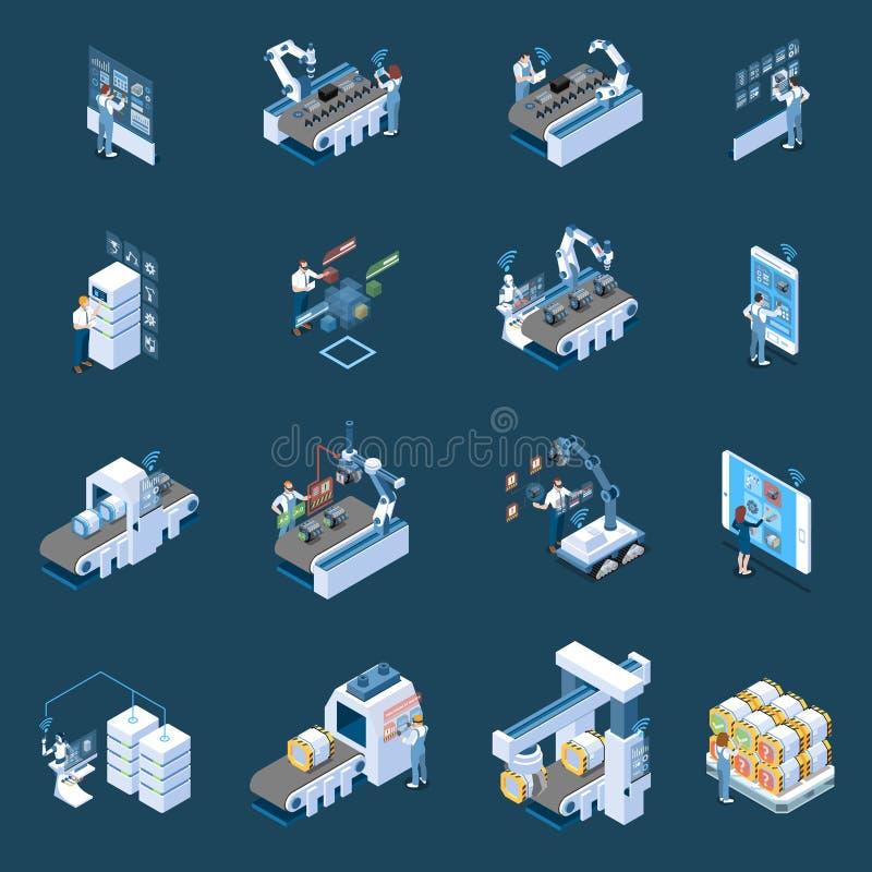 Intelligente Industrie-isometrische Ikonen lizenzfreie abbildung