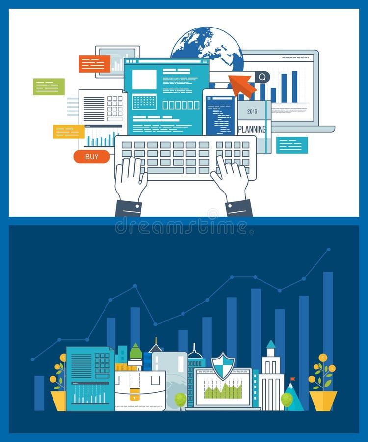 Intelligente Investition, Finanzierung, strategisches Management, Finanzplanung Investitionswachstum lizenzfreie abbildung