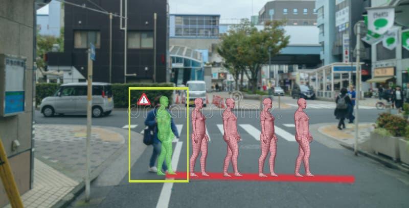 Intelligente künstliche Intelligenz im autonomen Auto mit dem Selbst, der Technologiekonzept, die Autogebrauch Vorhersagepedestra stockbild