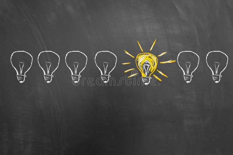 Intelligente kreative Ideenkonzeptzeichnung auf Tafel oder Tafel lizenzfreie stockfotografie