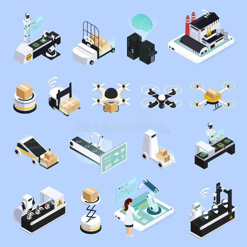 Intelligente Produktions-Ikonen-Sammlung lizenzfreie abbildung