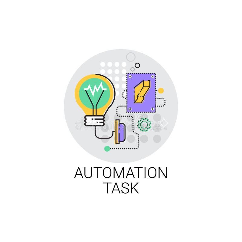 Intelligente Roboter-Maschinerie-industrielle Automatisierungs-Aufgaben-Industrie-Produktions-Ikone lizenzfreie abbildung