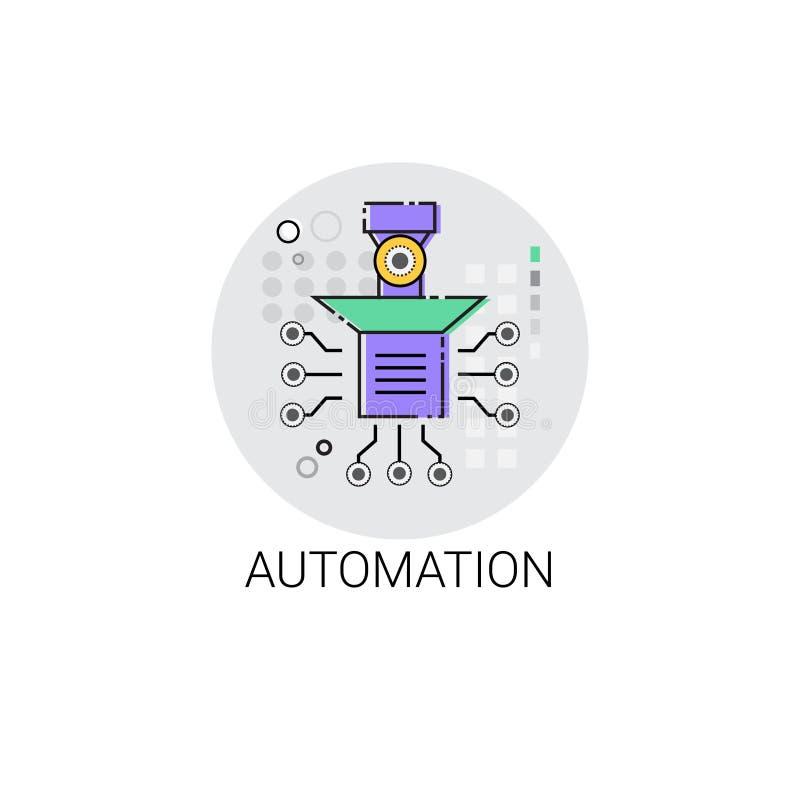 Intelligente Roboter-Maschinerie-industrielle Automatisierungs-Industrie-Produktions-Ikone lizenzfreie abbildung