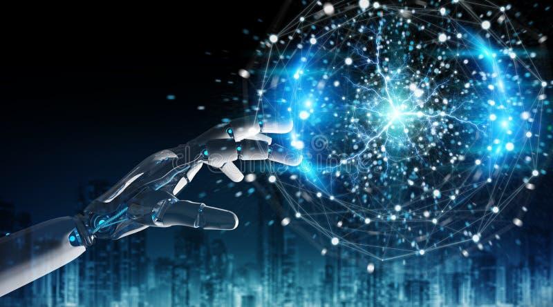 Intelligente robothumanoid gebruikend het digitale globale netwerk 3D teruggeven royalty-vrije illustratie