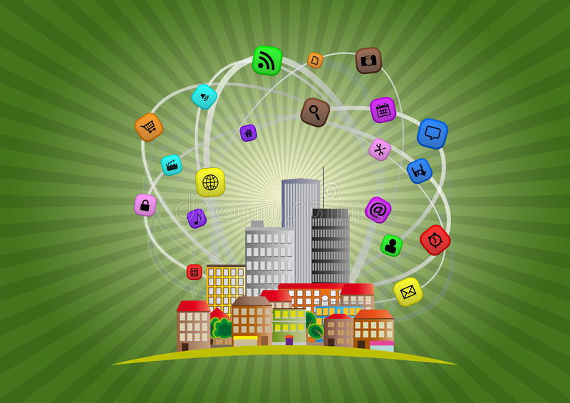 Intelligente Stadt lizenzfreie abbildung