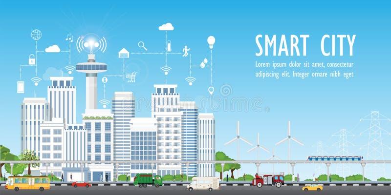 Intelligente Stadt auf Stadtlandschaft mit verschiedenen Ikonen stock abbildung
