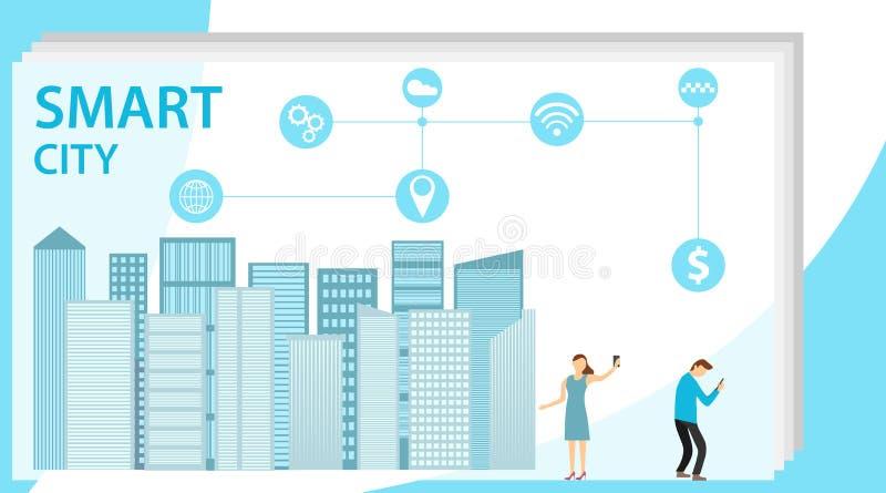 Intelligente Stadt Flaches kleines st?dtisches StadtDatenerfassungs-Personenkonzept Bewegliche drahtlose Kommunikation mit Stadtw vektor abbildung