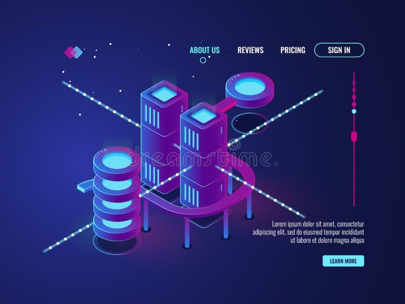 Intelligente Stadt, isometrischer Vektor des Serverraumes, Rechenzentrumdatenbankikone, Vernetzung und Datenverarbeitungskonzept  stock abbildung