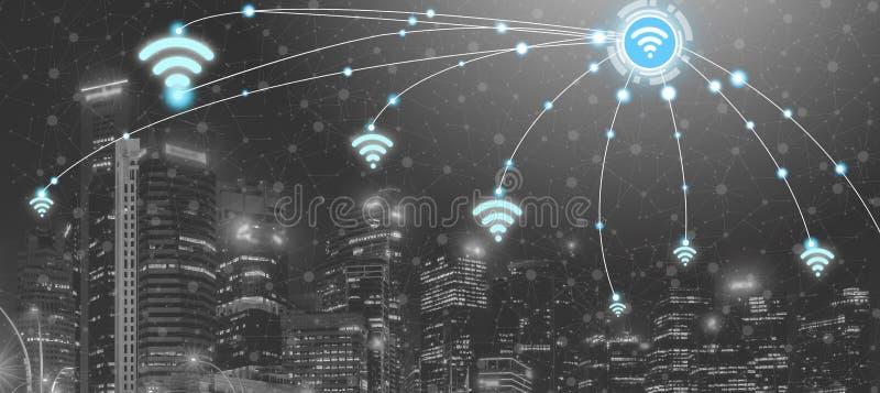 Intelligente Stadt und drahtloses Kommunikationsnetz stockfotografie