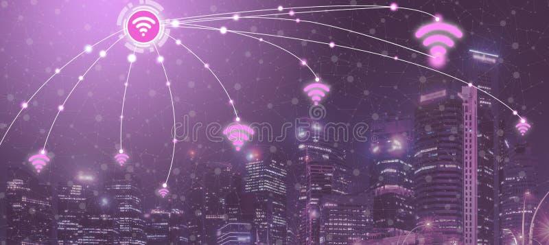 Intelligente Stadt und drahtloses Kommunikationsnetz stockfoto