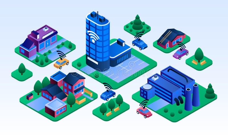 Intelligente Stadtgebäudefahne, isometrische Art vektor abbildung