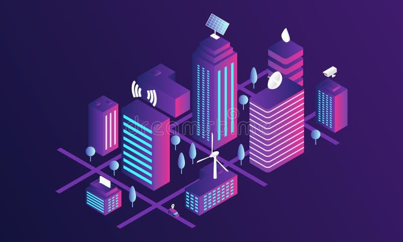 Intelligente Stadtkonzeptfahne, isometrische Art stock abbildung