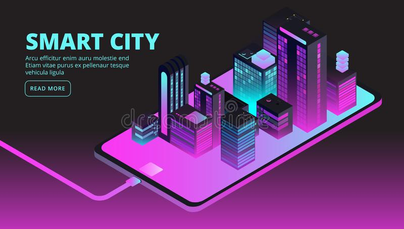 Intelligente Stadttechnologie Gebäudeleittechnik in der zukünftigen Stadt Isometrische Fahne des Vektors 3d stock abbildung