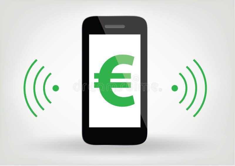 Intelligente Telefon-/Handyikone Mit Eurozeichen, Drahtloses Symbol ...