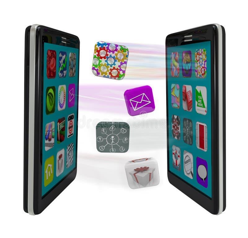 Intelligente Telefone, die APP-Software Syncing Meldungen teilen lizenzfreie abbildung