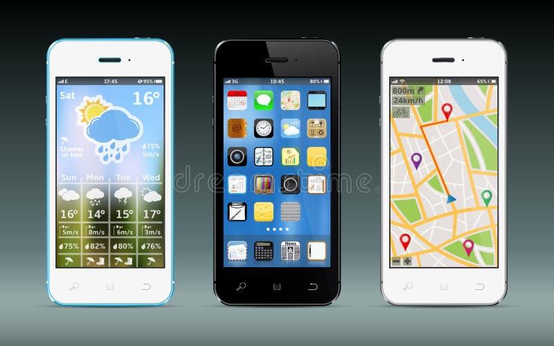 Intelligente Telefone mit apps Ikonen, Wetter und GPS-Navigation Widgets stockfotos
